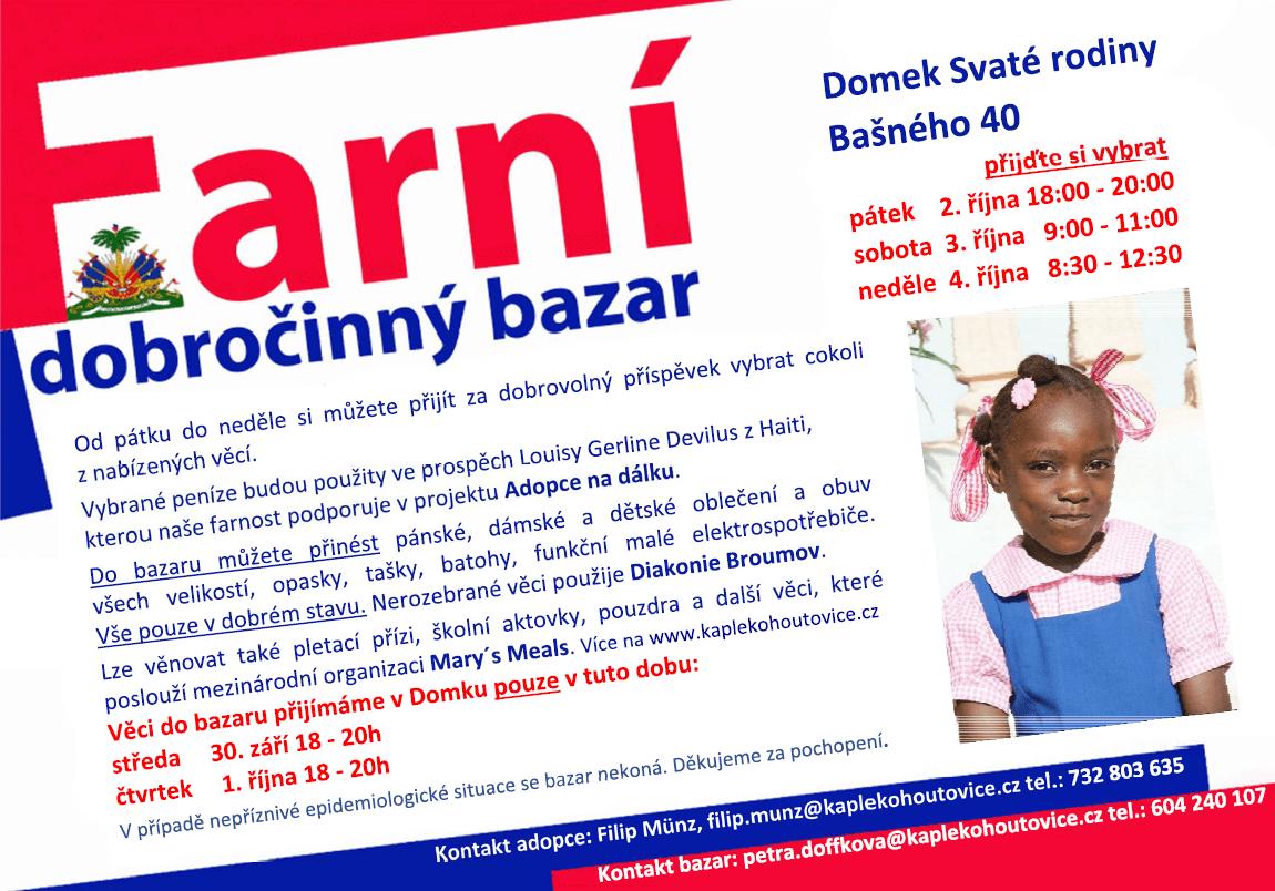 Farní dobročinný bazar Kohoutovice říjen 2020